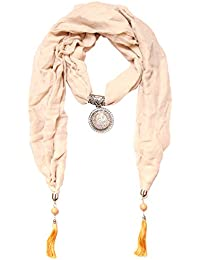 Scarf Necklace California Printed Gold Pink Necklace Scarf Pendant Scarf Stole Muffler For Girls Women.Order Now