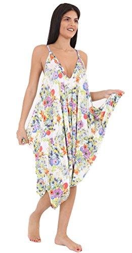 Lul® Damen bedruckt Lagenlook Strappy Baggy Harem Overall Kleid Top Spielanzug Cami 16–30 Gr. 56, Spring Floral (Floral Overall Kleid)