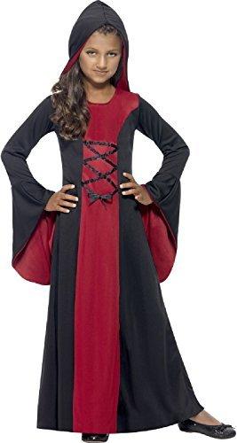 Fancy Me Mädchen Kapuzen Vampir rot & SCHWARZ Robe Kleid Spitze auf Detail Gothik mittelalterlich historisch Halloween Kostüm Kleid Outfit 4-12 Jahre - Schwarz/Rot, 10-12 Years