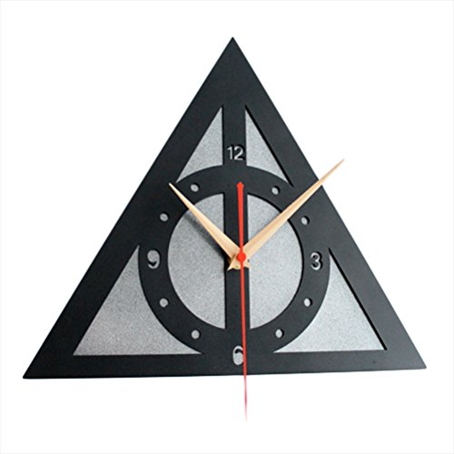Ho Clock Reloj De Pared 12 Pulgadas Vinilo Retro CD Harry Potter Reliquias De La Muerte Signo Reloj De Pared Silenciosa,Silver