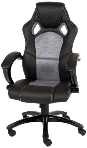 AC Design Furniture 43331 Monaco Fauteuil de bureau en cuir synthétique Design sport auto Noir/gris 62 x 119 x 70 cm