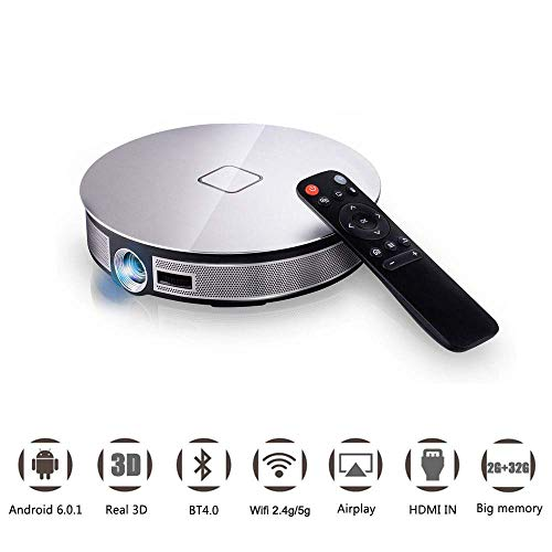 LQQZZZ Android 6.0 HD Projektor, Wi-Fi Bluetooth Pico Projektor DLP 3D 1080P 4K HD Heimkino 3500 Lumen Multi-Format-Unterstützung Spiel Entertainment Office Home Party Multi-format Lcd