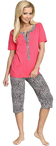 Be Mammy Damen Schlafanzug Stillpyjama H2L2N2 (Coral, XL) (Ärmel Schlafanzug 3/4)