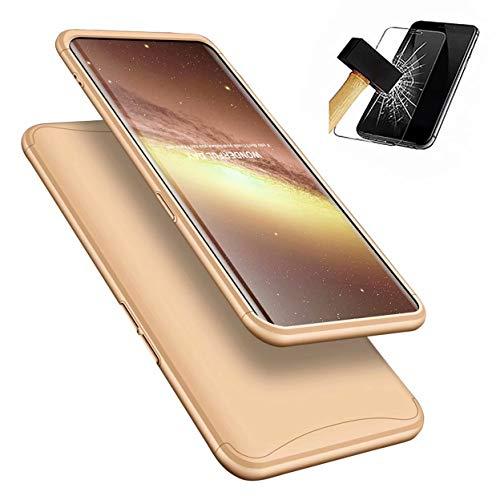 Oppo Find X Handyhülle + Bildschirmschutzfolie, LaiXin Oppo Find X Hülle 360 Grad PC Plastik Hard Case Cover Fall-Abdeckung Schutzhülle mit Panzerglas - Gold