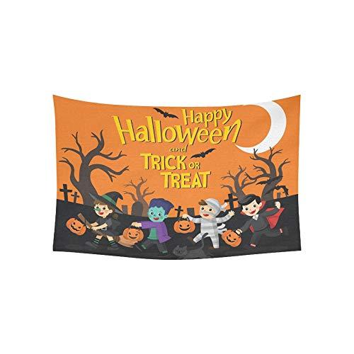 Tapisserie Happy Halloween Kinder Gekleidet Halloween Phantasie Wandteppiche Wandbehang Blume Psychedelic Tapisserie Wandbehang Indischen Wohnheim Dekor Für Wohnzimmer Schlafzimmer 60 X 40 Zoll