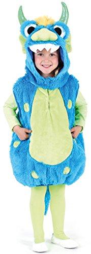 Oh2012-104-128 blau Rona Kinder Monster Weste Kostüm Gr.104-128 (Schnappi Kostüm)