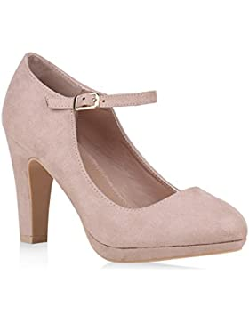 Damen Schuhe Pumps Mary Janes Veloursleder-Optik High Heels Blockabsatz Flandell