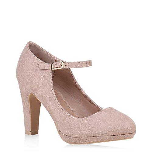 Damen Schuhe Pumps Mary Janes Veloursleder-Optik High Heels Blockabsatz 152891 Creme 39 Flandell