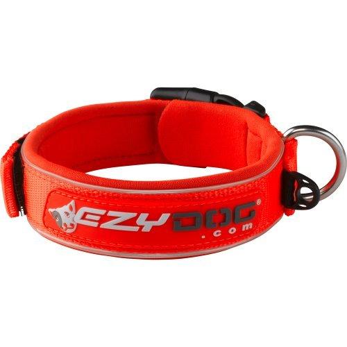 hundeinfo24.de EzyDog 5708214160170 Neopren Hundehalsband Wide, XL, blaze orange