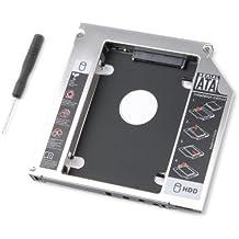 tinxi® HDD / SSD / DVD / CD-ROM adattatore caddy per Hard Disk SATA e tutti i notebook Laptop con SATA 12,7 mm--- HP Pavilion DV4 DV5 DV6 DV7 Compaq 620 625 635, Samsung R560, NP Serie, Acer Aspire, Extensa 5230E 7630G, 7740G TravelMate 5740Z, Toshiba Qosmio X300 Tecra M10, Satellite A660 L650D, serie Asus MNFGBX, Fujitsu Siemens Esprimo Mobile, Sony Vaio VGN-BZ26M, serie VPC