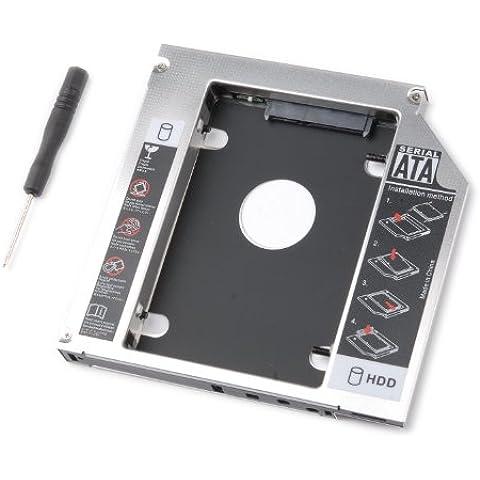 tinxi® Segundo HDD Caddy 2.HDD / SSD Caddy adaptador SATA disco duro para todos los portátiles con la bahía de la unidad SATA de 9,5 mm universal de CD / DVD-Rom