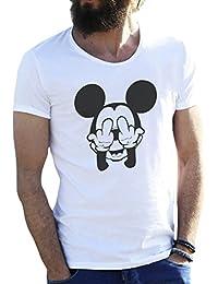 Mickey Mouse Swag Trippy Disney Dope Fuck Blanca Camiseta para Hombre Small