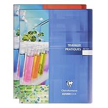 Clairefontaine 980420C - Un cahier travaux pratiques Koverbook 64 pages 24x32 cm grands carreaux 90g et unies blanches 125g, couverture polypro transparente couleur aleatoire