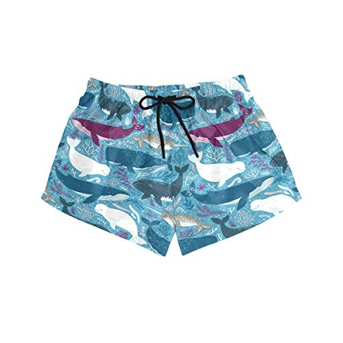BONIPE Damen Badehose Cartoon-Delfin-Muster, schnelltrocknend, Surf-Strandboard-Shorts mit Kordelzug und Taschen, Größe S Gr. M, Mehrfarbig