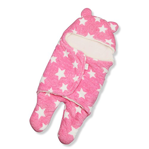 HOYMN Baby Schlafsack Swaddle Neugeborene Kapuze Separate Beine Baby Pucktuch Herbst Winter Mädchen Junge Wickeldecke 0-1 Jahr (0-3 Monate, Rosa)