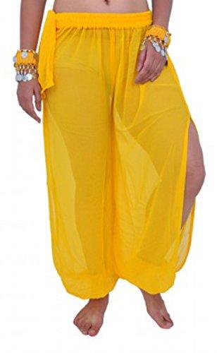 (Bauchtanz Harem Hose zum Tanzen Tribal Tänzer Kostüm Yoga FANCY KLEID Leggings M L XL (GELB))