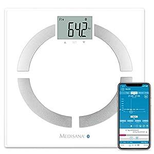 Medisana BS 444 Connect digitale Körperanalysewaage bis 180 kg –  Personenwaage zur Messung von Körperfett, Körperwasser, Muskelmasse und Knochengewicht – Körperfettwaage mit Bluetooth App – 40444
