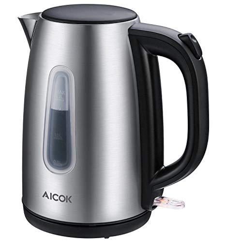 Aicok bollitore elettrico, 1.7l bollitori in acciaio inox, professional strix termostato di controllo cordless bollitori elettrici, 2200w