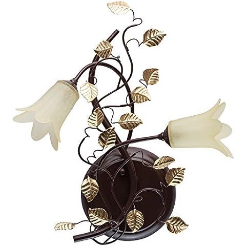 Applique rustico vintage collore marrone scuro ed oro anticato metallo vetro fiori elementi decorativi fogli retro elegante in soggiorno o camera da letto 2*10W G4 - incl - Fogli Tetto