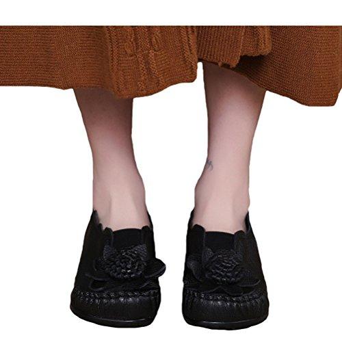 Vogstyle femme Handmade vintage grand fleur Chaussures plates en cuir des Noir