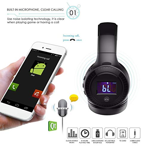 Bluetooth Kopfhörer, ELEGIANT Bluetooth 4.0 Stereo Headset On Ear Kopfhörer mit Digital Display 4 Modi Freisprechfunktion + Mic/ FM Radio/ TF SD Karte Slot/ 3,5mm Audio AUX - 4