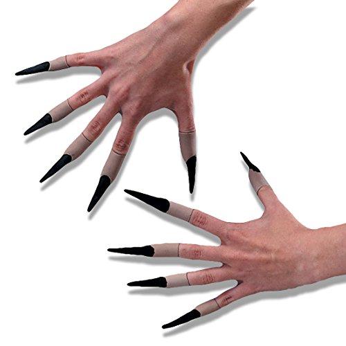 Schwarze Fingernägel Schwarze Latexfingernägel Hexennägel zum Aufstecken Latex Hexenfinger Halloween (Nägel Halloween)