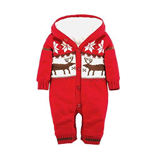 Kleider Kinderbekleidung Honestyi Baby Warm Strampler Neugeborenen Jungen Mädchen Pullover Weihnachten Deer Plüsch mit Kapuze Outwear (Rot,70)