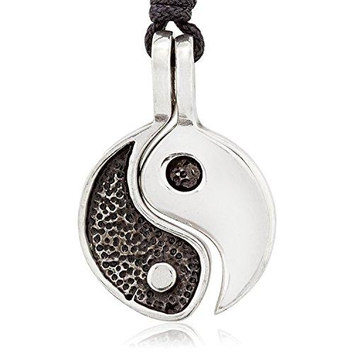 Llords Schmuck Yin Yang Freundschaftshalskette zweiteiliger Anhänger, feinster Zinn Metall Modeschmuck