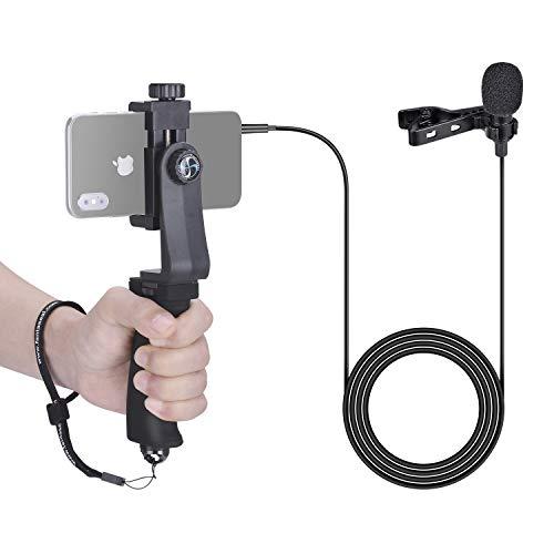 Supporto per telefono con microfono Cravate Audio, Micro stereo omnidirezionale compatibile con gli smartphone da 3,5 mm, kit video perfetto per Vlog, YouTube, Videast, Interview o Streaming.