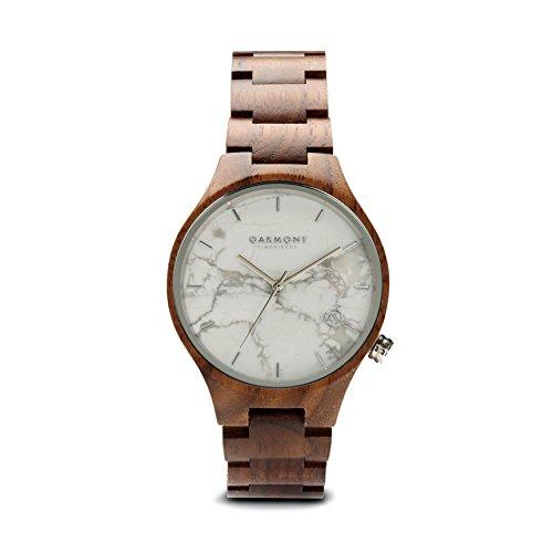 Oakmont Zeitmesser 'Chamonix' Herren/Damen Holz Uhr mit weißem Marmor Face. Display/Geschenk-Box & 12Monate Garantie enthalten. (G-shock-watch-weiß-grün)