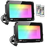 Onforu Lot de 2 Projecteurs LED RGB 100W Exterieur, 2 Modes 11 Couleurs, Lampe...