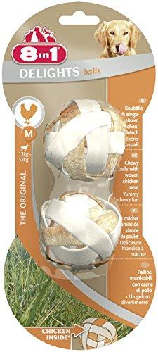 8in1 Delights Chicken Kaubälle M, gesunder Kausnack für mittelgroße Hunde, 2 Stück (40 g) - Für Hund Hunde Mittelgroße Knochen