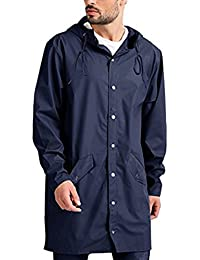 Modfine Lightweight Unisex Waterproof Rain Jacket Long Outdoor Hooded Raincoat Packable Jacket