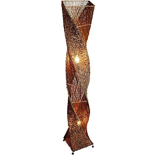 große Deko-Leuchte MARCO dunkel, hohe Stehlampe aus Natur-Material, gedrehte Form 150cm