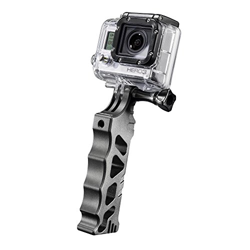 Mantona Handgriff Alu steadyGoPro Mount (Aufnahme und 3x 1/4 Zoll Gewinde, CNC Alu, geeignet für GoPro Hero 6 5 4 3+ 3 2 1, Session und andere kompatible Action Cams) schwarz (Pro Steady Cam Go)