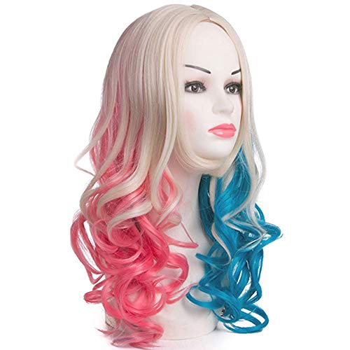LNNA Suicide Squad Clown Weibliche Perücke Cosplay Halle Quinn mit COS Movie X Task Force Blue Pink (Farbe : B) -