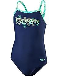 Speedo Girls 'espacio Rock Placement Thinstrap Muscleback Bañador, niña, color Navy/Jade/Green Glow, tamaño 30