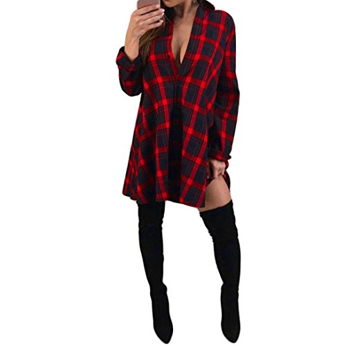 Longra Damen Karierte Bluse Langarmshirt Oberteile Kariertes Hemdbluse Damen Casual Button Longshirt Cardigan Top Karohemd Hemdkleid Blusenkleid Kurz Kariertes Hemden Shirtkleid (Red, M) (Plaid Sleeve Button)