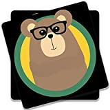 Colorpur Nerd Brown Bear With Cirlce Wooden Square Coaster (Set of 2) - 9.5 cm x 9.5 cm   Artist: Torben