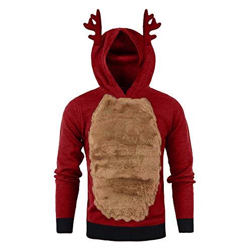 ODRD Herren Christmas Antlers Sweatshirts - Männer Ugly Plus Velvet Hooded Xmas Deer Patchwork Sweatshirt Langarm Hoodie Pullover - Hässliche Weihnachtspulli Damen Herren Weihnachtsparty Sweatshirt -
