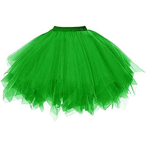 DresseverBrand Damen Petticoat 50er Rockabilly Jahre Retro Tutu Ballet Tüllrock Cosplay Crinoline Grün - Damen Jazz Kostüm