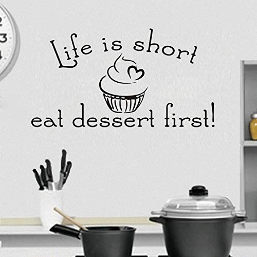 liuweidedian Life is Short Eat Dessert First Word Quote Wall Sticker for Kitchen Home Decor Vinyl Removable Wall Decal Dining Room Decoration Baum, Dessert