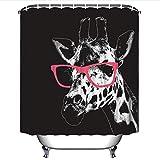 YLXINGMU Duschvorhang 3D Tier Rote Gläser Und Giraffe Digitaldruck Wasserdichte Badezimmerdekoration Polyester-Umweltfreundliches Material 120Cm(W)×180Cm(H)