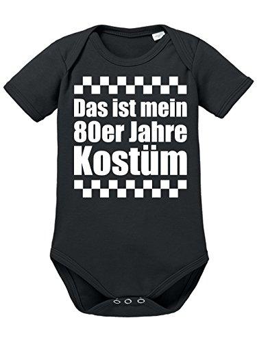 clothinx Baby Body Unisex Karneval Das ist Mein 80er Jahre Kostüm Schwarz/Weiß Größe 74-80