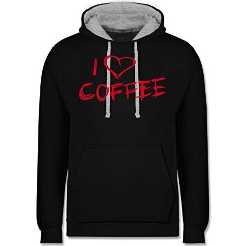 Shirtracer Küche - I Love Coffee rote Schrift - L - Schwarz/Grau meliert - JH003 - Kontrast Hoodie Peach Küche