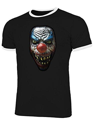Halloween Killer Clown 5959 Fun Shirt Männer mit Spruch lustig Herren Ringer Tshirts Schwarz Weiss S