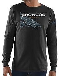 "Denver Broncos Majestic NFL ""Elite Reflective"" Men's L/S Black T-shirt Chemise"
