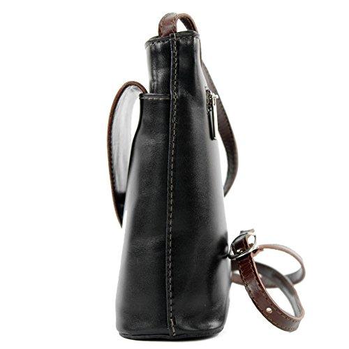 Borsa borsa a tracolla linea donna italiana borsa a tracolla piccola borsa D1 Schwarz/Braun