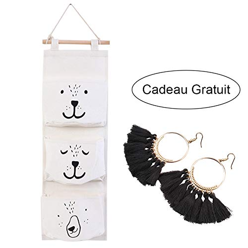Ouyou - borsa portaoggetti da appendere, in tessuto di lino, per neonati, con tasche, organizzatore retrò da parete, per armadio / dietro la porta / da parete / camera, decorativa