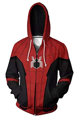 RedJade Herren Damen Kapuzenjacke Pullover mit Kapuze Sweatjacke Hoodie Kostüm Spider-Man: Far from - Spiderman Kostüm Hoodie